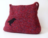 Berry Mix Wool Felted Bag Purse with Crow