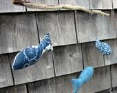 Happy Blue Fish Fabric & Driftwood Mobile (3 Fish)