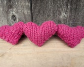 Think Pink Fuchsia Felted  Hearts & Driftwood Mobile Valentine's Home Decor Ornament