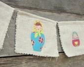 Mini Matryoshka Nesting Dolls Wall Banner Fabric Bunting Home Decor