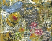 Bird print-She Keeps Discovering Who She Is print of mixed media painting