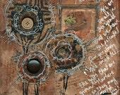 Flourish print of mixed media acrylic painting