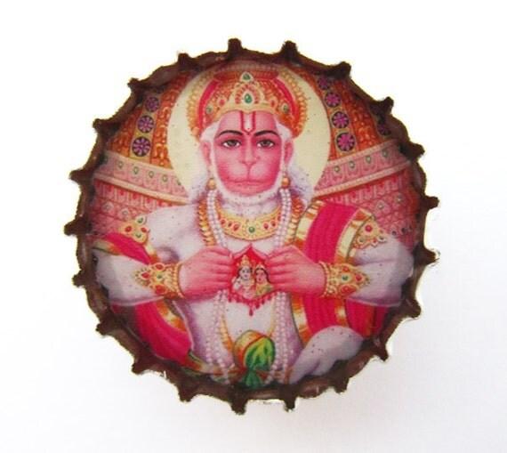 Hanuman - Upcycled Bottle Cap Magnet - Devotee of Rama