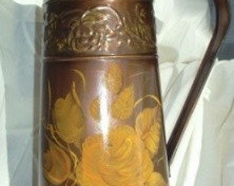 Bronze/ Copper Hand Painted Metal Pitcher