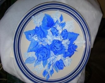 Decorative Painted Blue Roses Plate