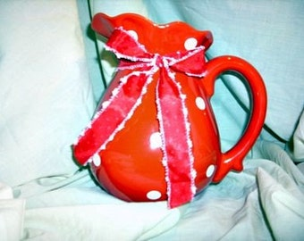 Red and White Polka Dot Pitcher
