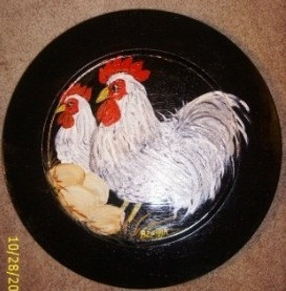 Rooster and Hen Painted on Wooden Plate