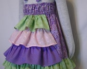 Dress Ruffle Bustle back to school Spring Summer purple green and pink eyelet halter dress custom