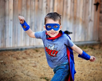 Superhero Cape Super Hero cape mask and cuffs set Personalized Custom monogram Kids childrens adult baby infant birthday gift boy costume