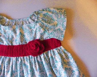 Girls Dress Flower Girl- Damask dress -custom-crochet band and brooch black and white red green aqua