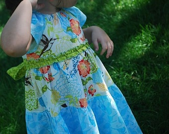 Easter Girls Spring Summer Dress toddler Bluebirds and Hummingbirds floral peasant dress