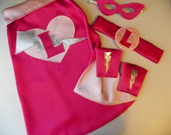 Deluxe Super Hero Cape birthday gift set superhero princess cape mask cuffs and belt boys girls present personalized monogrammed toys party