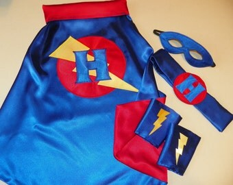 Deluxe Super Hero Cape birthday gift set superhero cape mask cuffs and belt boys girls present personalized monogrammed toys party costume