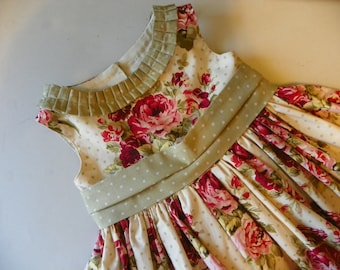 Girls Dress -Heirloom toddler Spring Summer boat neck dress custom roses and dots dress full skirt red cream green sage