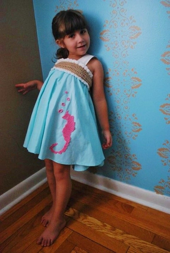 SEAHORSE KNOT DRESS girls toddler dress halter hand crochet bodice aqua pink coral beach wedding flower girl dress unique