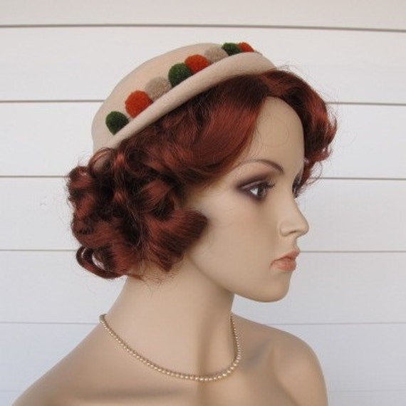 Vintage Hat Stratford Mode Cream Velour With PomPoms