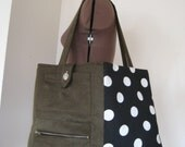 Army green and polka/dot Large size tote