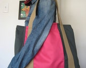 Bright pink with army green Large tote