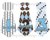 Monthly Onesie Stickers... Little Boy Ties Blue & Brown... UNCUT...Please Read...Waterproof...An Original Seller