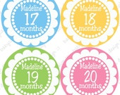 Monthly Onesie Stickers...Julia 13-24 months...Personalized with babies name...Fast Shipping...Waterproof...Original Designer