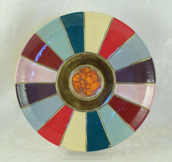 Ceramic Collectors Plate with Sun Ray Design