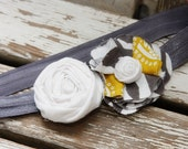 CUTE elastic headband with gray, white & mustard colored flowers