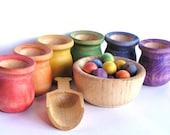 Wood Toy Set -SCOOP & SORT- Rainbow- Educational