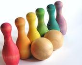 Waldorf Montessori Educational Wood Toy-  RAINBOW Bowling - Solid Wood Game Set