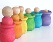 Eco- Friendly-Wood Toy Set -The Original Peek-a-Boo  RAINBOW FAMILY- Waldorf- Montessori - Inspired -Educational Pretend Play Set