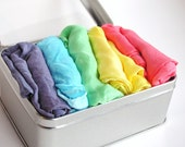 Waldorf-5 Large Play Silks- Rainbow IMAGINABLES Set -- Play Scarves- Natural Pretend Play