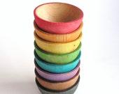 Waldorf- Rainbow -STACK ME- bowls- Montessori- Baby -Toddler Toy-