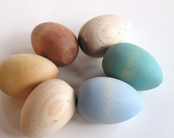 Natural Wood Toy- Heritage Breed Easter Eggs- Waldorf Toy - Wooden Easter Eggs -Easter Decor
