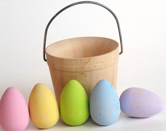 Natural Wooden Toy- PASTEL mini Easter Egg Basket-