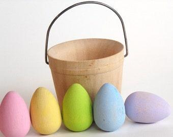 Natural Wooden Toy- PASTEL mini Easter Egg Basket-