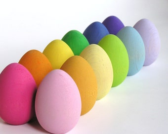 EASTER EGGS * Easter Basket Filler* Easter Egg Hunt* 12 Wooden Easter Eggs* Easter Decoration* Waldorf toy