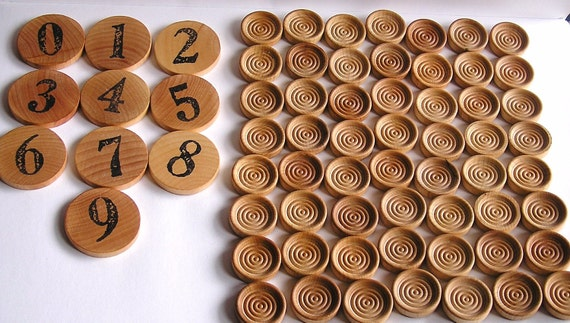 Wooden -Waldorf- Montessori Math-Natural Toy - COUNT ME - Numbers -Stacking- Educational Waldorf- Set