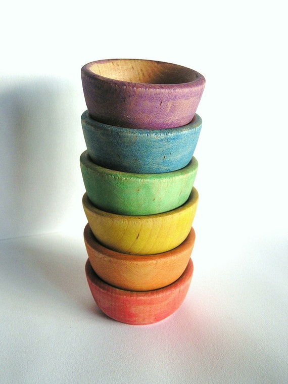 Wood Toy- Rainbow -STACK ME- bowls-  Featured on Etsy Front Page