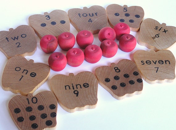 Waldorf- Montessori- Educational Natural Wood Toy- Counting Apples- Math Set