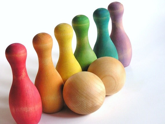 Waldorf-Game-  RAINBOW Bowling - Solid Wood Game Set