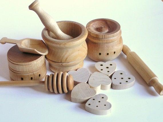 WALDORF Natural Wood Toy- The ORIGINAL Baker's Dozen- Pretend Play Kitchen Set