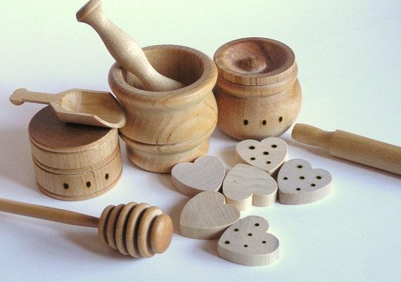 Natural Wood Toy- The ORIGINAL Baker's Dozen- Pretend Play Kitchen Set-