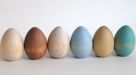 Eco -Friendly - Natural Wooden Easter Eggs- Heritage Breed -Waldorf- Montessori Pretend Play Kitchen Kids Toy or Easter Spring Decor