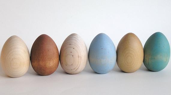 Natural Wood Toy- Easter Eggs- Waldorf- Montessori- Nature Table- Pretend Kitchen