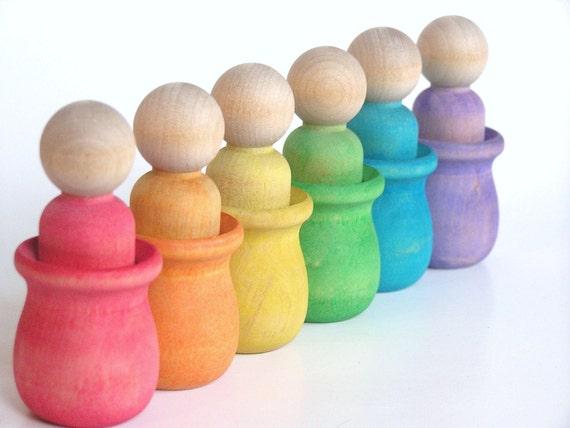 RAINBOW Peek a Boo Men- Waldorf Inspired Wood Toy-