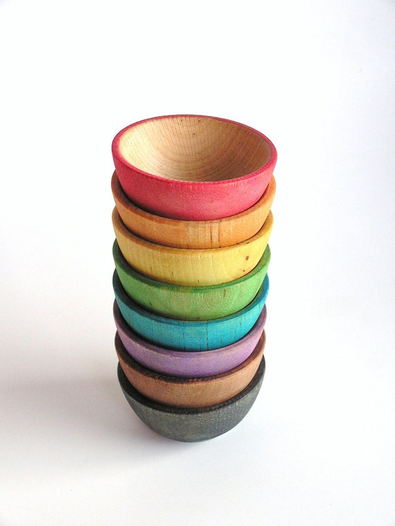Waldorf- Rainbow -STACK ME- bowls- Montessori- Baby -Toddler Toy-