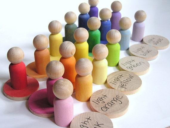Montessori -Waldorf- Educational -RAINBOW WHEEL - Matching Wood Toy
