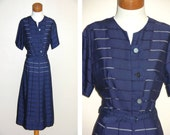 Vintage Sheer Navy 60s Dress Medium