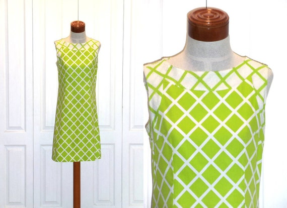 Vintage 70s Lime Green Lattice Dress Small Medium