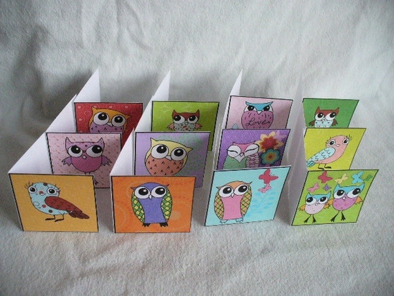 Mini Owl Gift Cards - FREE PERSONALIZING
