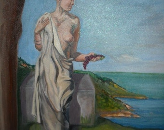 Grace is a serene oil painting of a classical woman in a reflective mode....